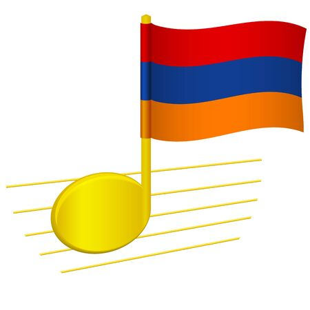 Armenia flag and musical note. Music background. National flag of Armenia and music festival concept  illustration 스톡 콘텐츠