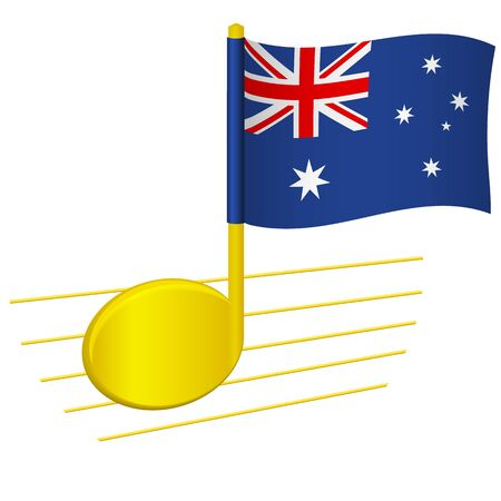 Australia flag and musical note. Music background. National flag of Australia and music festival concept vector illustration
