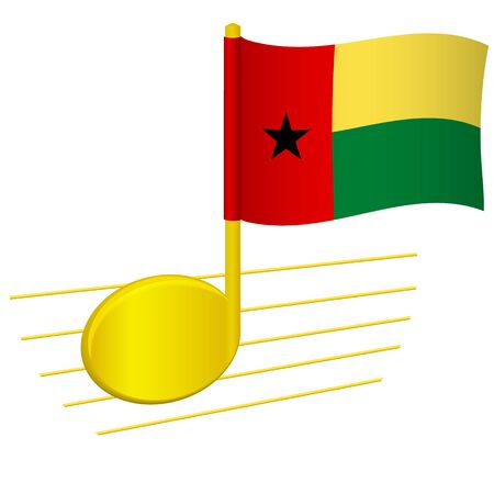 Guinea-Bissau flag and musical note. Music background. National flag of Guinea-Bissau and music festival concept vector illustration 일러스트