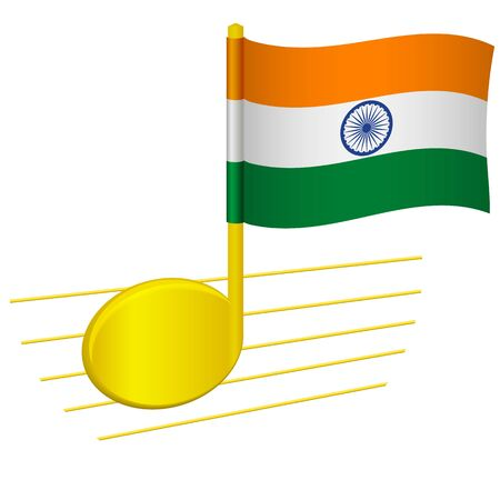 India flag and musical note. Music background. National flag of India and music festival concept vector illustration