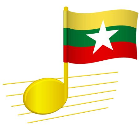 Burma flag and musical note. Music background. National flag of Burma and music festival concept vector illustration