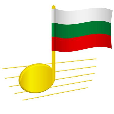 Bulgaria flag and musical note. Music background. National flag of Bulgaria and music festival concept vector illustration