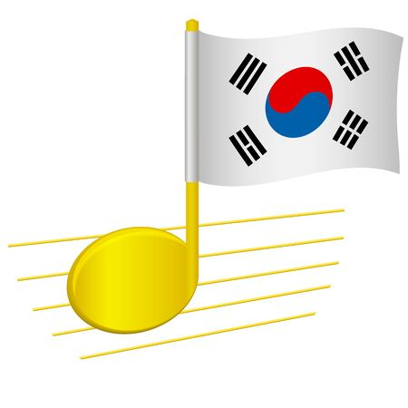 South korea flag and musical note. Music background. National flag of South korea and music festival concept vector illustration