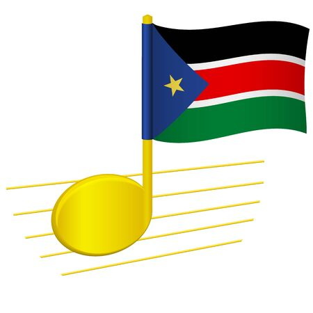 South Sudan flag and musical note. Music background. National flag of South Sudan and music festival concept vector illustration