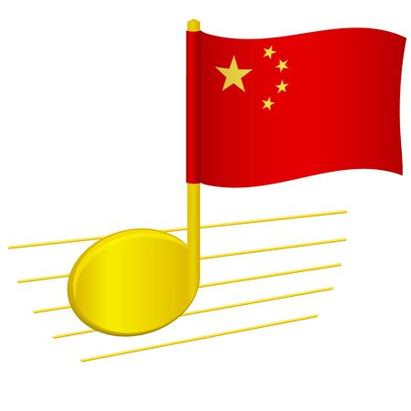 China flag and musical note. Music background. National flag of China and music festival concept vector illustration
