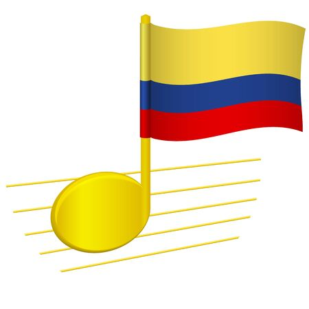 Colombia flag and musical note. Music background. National flag of Colombia and music festival concept vector illustration
