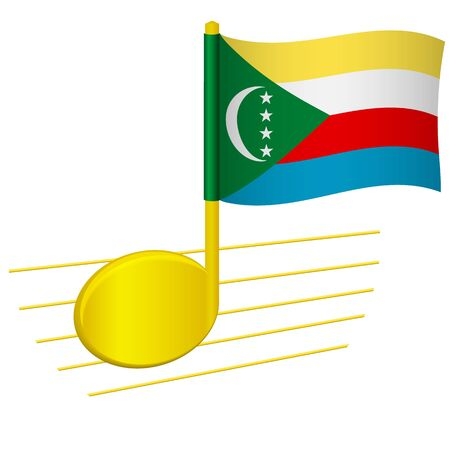 Comoros flag and musical note. Music background. National flag of Comoros and music festival concept vector illustration