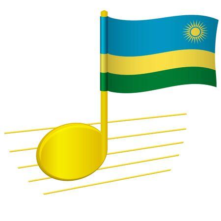 Rwanda flag and musical note. Music background. National flag of Rwanda and music festival concept vector illustration 일러스트