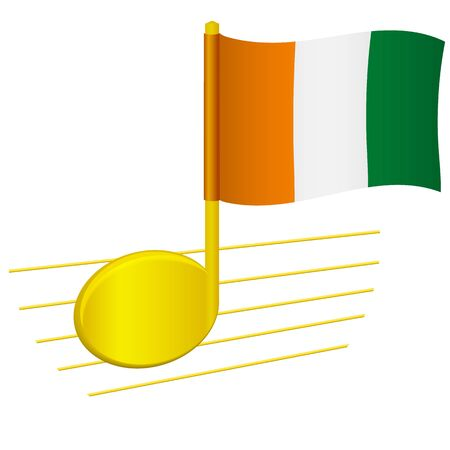 Cote divoire - Ivory Coast flag and musical note. Music background. National flag of Cote divoire - Ivory Coast and music festival concept vector illustration