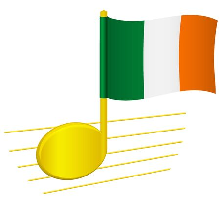 Ireland flag and musical note. Music background. National flag of Ireland and music festival concept vector illustration