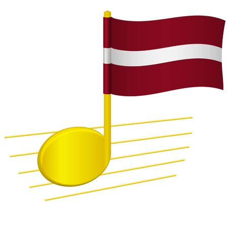 latvia flag and musical note. Music background. National flag of latvia and music festival concept vector illustration
