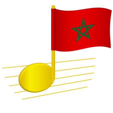 Morocco flag and musical note. Music background. National flag of Morocco and music festival concept vector illustration