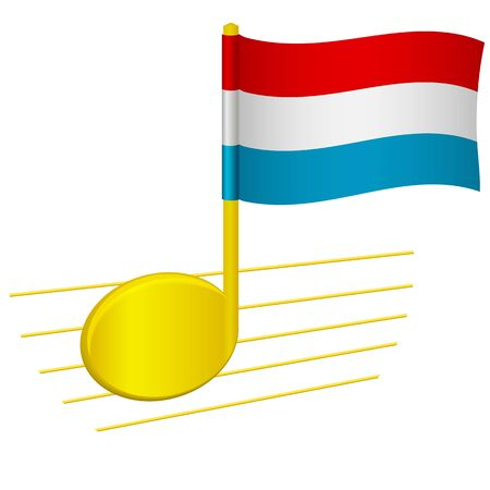 luxembourg flag and musical note. Music background. National flag of luxembourg and music festival concept vector illustration 일러스트