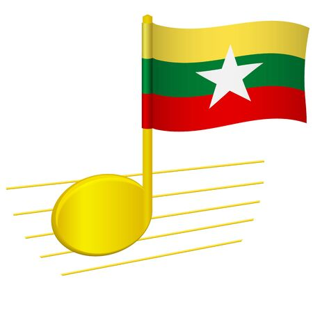 Myanmar flag and musical note. Music background. National flag of Myanmar and music festival concept vector illustration 일러스트