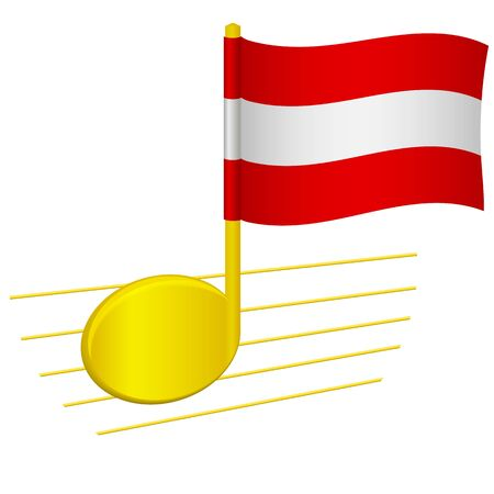 Austria flag and musical note. Music background. National flag of Austria and music festival concept vector illustration  イラスト・ベクター素材