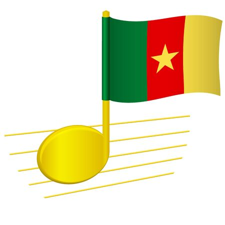 Cameroon flag and musical note. Music background. National flag of Cameroon and music festival concept vector illustration