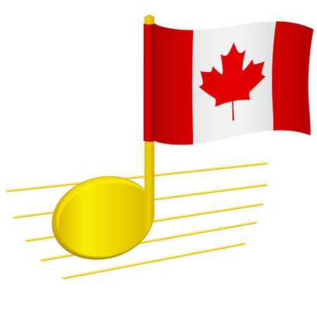 Canada flag and musical note. Music background. National flag of Canada and music festival concept vector illustration 일러스트