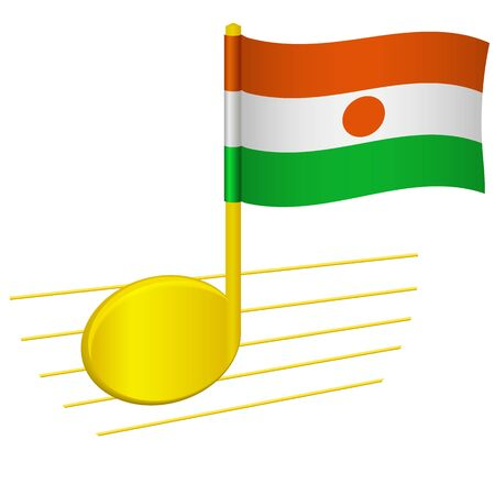 Niger flag and musical note. Music background. National flag of Niger and music festival concept vector illustration