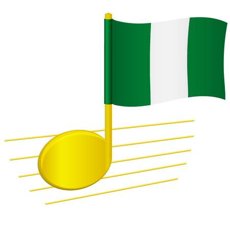 Nigeria flag and musical note. Music background. National flag of Nigeria and music festival concept vector illustration