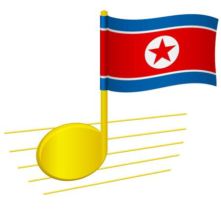 North Korea flag and musical note. Music background. National flag of North Korea and music festival concept vector illustration 일러스트