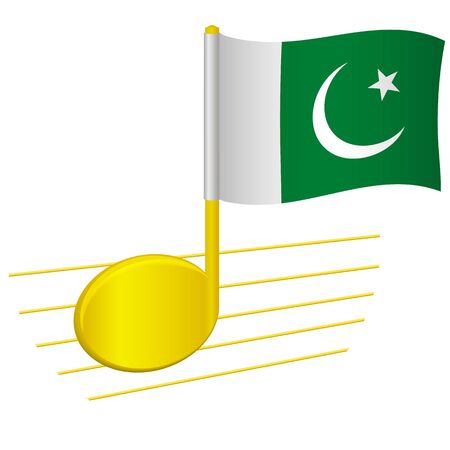 Pakistan flag and musical note. Music background. National flag of Pakistan and music festival concept vector illustration 일러스트