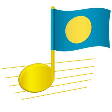 Palau flag and musical note. Music background. National flag of Palau and music festival concept vector illustration
