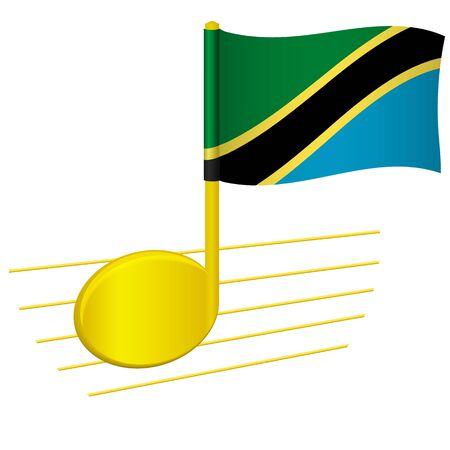Tanzania flag and musical note. Music background. National flag of Tanzania and music festival concept vector illustration