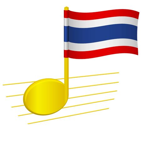 Thailand flag and musical note. Music background. National flag of Thailand and music festival concept vector illustration