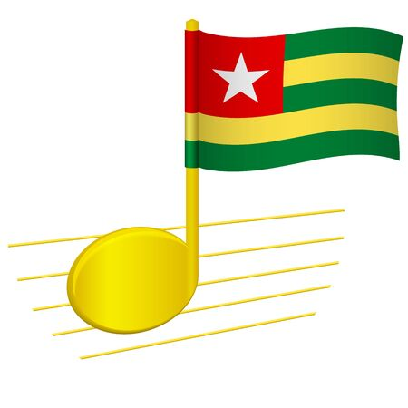 Togo flag and musical note. Music background. National flag of Togo and music festival concept vector illustration