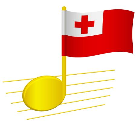 Tonga flag and musical note. Music background. National flag of Tonga and music festival concept vector illustration