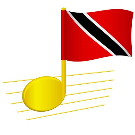 Trinidad and Tobago flag and musical note. Music background. National flag of Trinidad and Tobago and music festival concept vector illustration