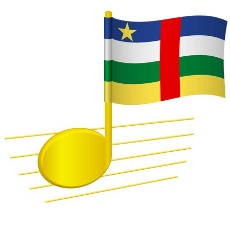 Central African Republic flag and musical note. Music background. National flag of Central African Republic and music festival concept vector illustration 일러스트