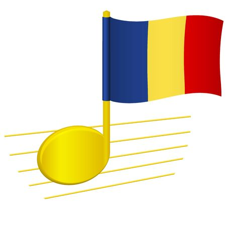 Chad flag and musical note. Music background. National flag of Chad and music festival concept vector illustration