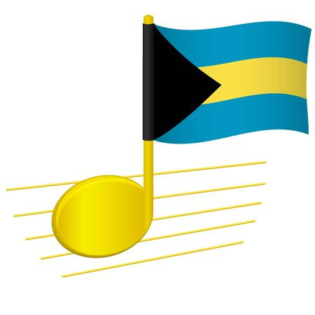 Bahamas flag and musical note. Music background. National flag of Bahamas and music festival concept vector illustration