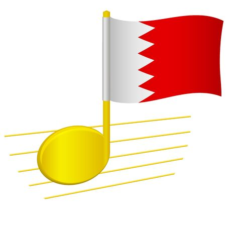 Bahrain flag and musical note. Music background. National flag of Bahrain and music festival concept vector illustration 일러스트
