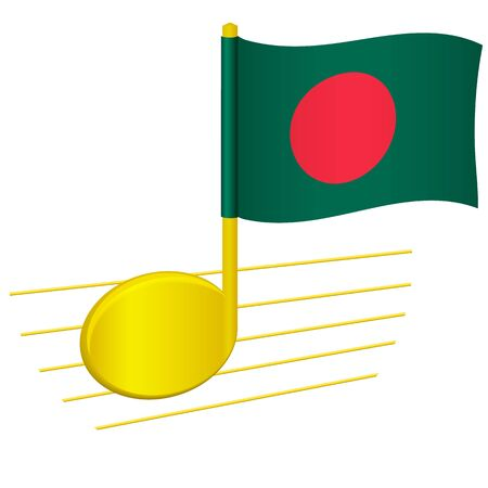 Bangladesh flag and musical note. Music background. National flag of Bangladesh and music festival concept vector illustration