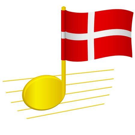 Denmark flag and musical note. Music background. National flag of Denmark and music festival concept vector illustration