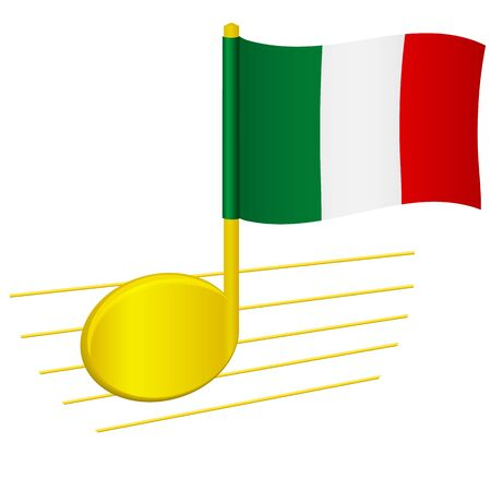 Italy flag and musical note. Music background. National flag of Italy and music festival concept vector illustration