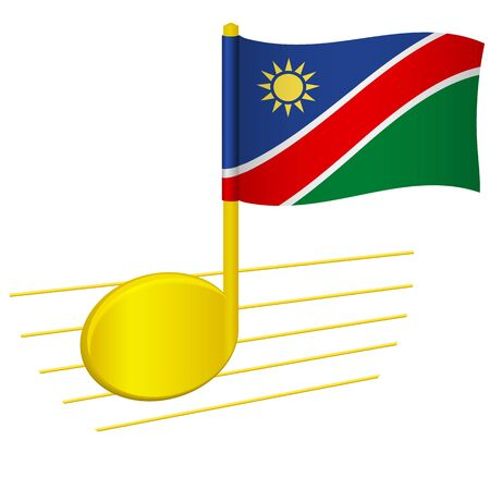 Namibia flag and musical note. Music background. National flag of Namibia and music festival concept vector illustration