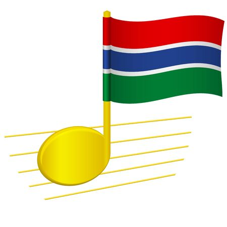 Gambia flag and musical note. Music background. National flag of Gambia and music festival concept vector illustration