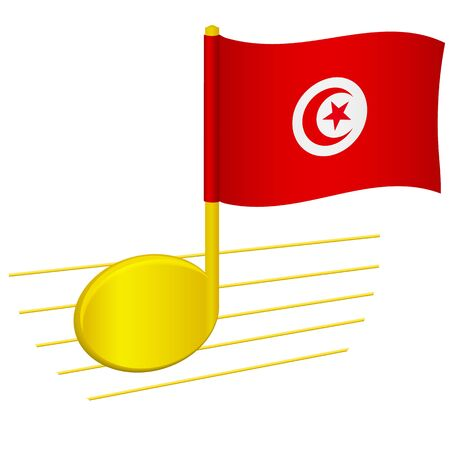 Tunisia flag and musical note. Music background. National flag of Tunisia and music festival concept vector illustration