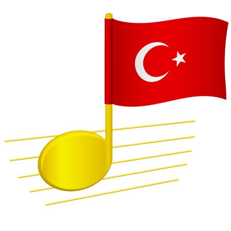 Turkey flag and musical note. Music background. National flag of Turkey and music festival concept vector illustration