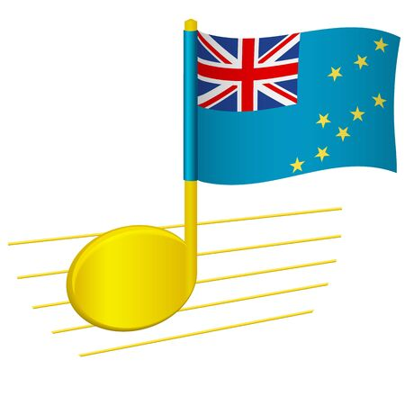 Tuvalu flag and musical note. Music background. National flag of Tuvalu and music festival concept vector illustration