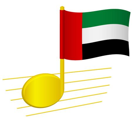 United arab emirates flag and musical note. Music background. National flag of United arab and music festival concept vector illustration