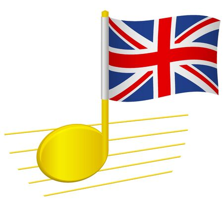 United Kingdom flag and musical note. Music background. National flag of United Kingdom and music festival concept vector illustration