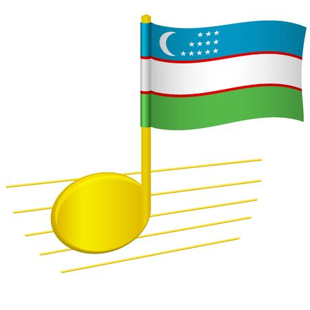 Uzbekistan flag and musical note. Music background. National flag of Uzbekistan and music festival concept vector illustration