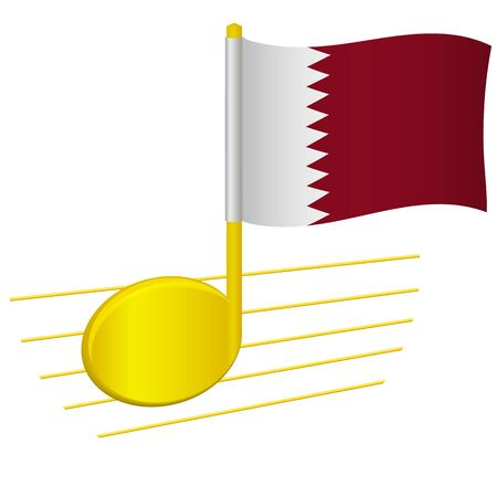 Qatar flag and musical note. Music background. National flag of Qatar and music festival concept vector illustration