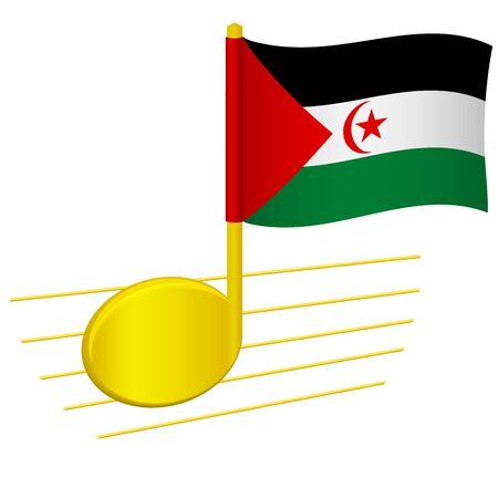 Sahrawi Arab Democratic Republic flag and musical note. Music background. National flag of Sahrawi Arab Democratic Republic and music festival concept vector illustration 일러스트