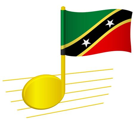 Saint Kitts and Nevis flag and musical note. Music background. National flag of Saint Kitts and Nevis and music festival concept vector illustration