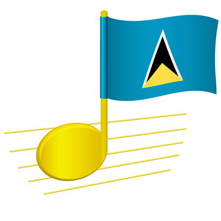 Saint Lucia flag and musical note. Music background. National flag of Saint Lucia and music festival concept vector illustration 일러스트